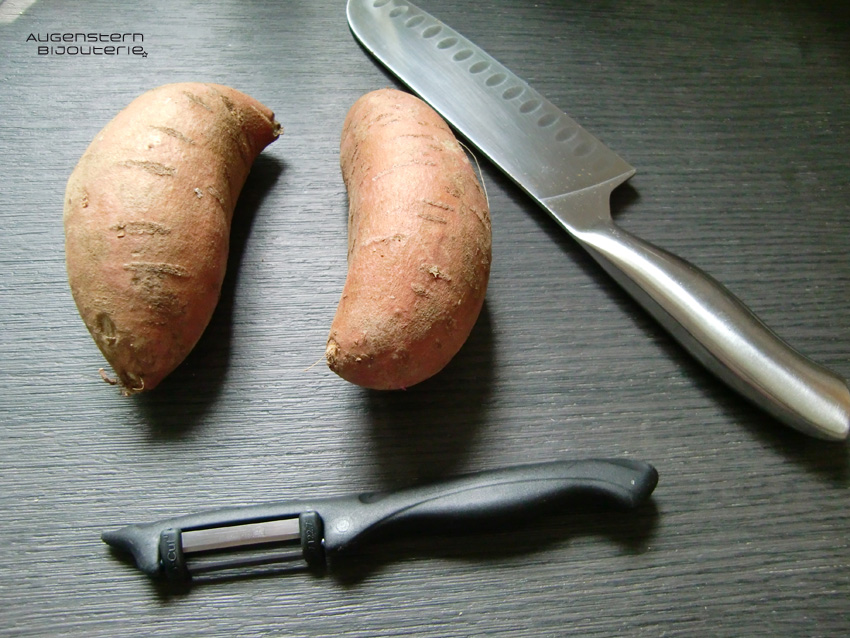 Ich rechne immer eine große Süßkartoffel pro Person.